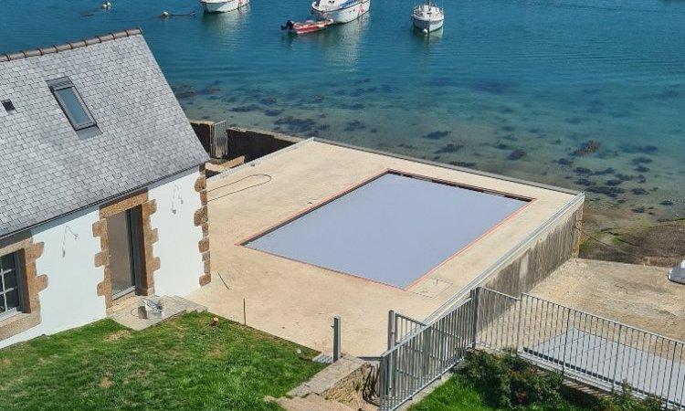 Jardin sud et piscine vue des combles