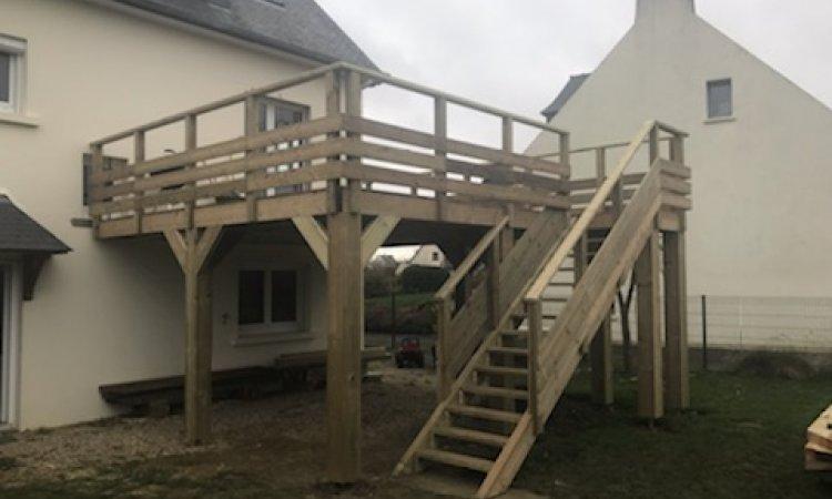Herry Construction Installation d'escalier extérieur en bois Paimpol